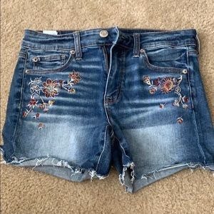 Embroidered AE jean shorts